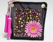 Fun pink and brown little girls purse with jump rope handles