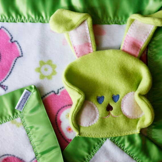 Green satin trim pink elephant baby bunny security blanket