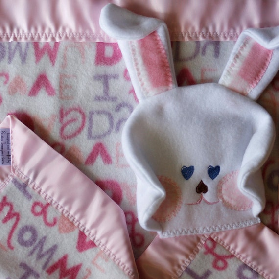 Newborn security blanket, pink satin, bunny blanket