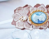 Cameo and Leather Flowers Headband - Free Shipping