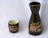 Vintage Peacock Sake Set - Decanter and Cup - Asahi Japan