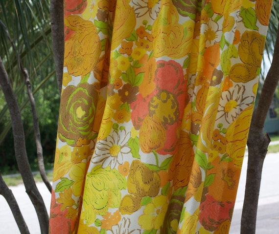 Vintage Floral Curtain - Yellow, Orange, Lime Green, Coral Pink, Tan, and White