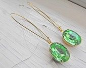 Peridot Earrings Vintage Glamour Inspired Bridal Jewelry Peridot Green Earrings Vintage Earrings Bridesmaid Estate Style Crystal Jewelry