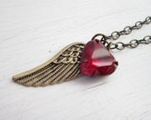 Angel Wing Necklace Red Heart Necklace Heart Pendant Valentine Jewelry Victorian-Gothic-Steampunk Jewelry