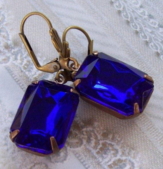 Sapphire Earrings Crystal Earrings Fall Wedding Estate Style Vintage Earrings Bridal Wedding Jewelry
