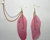 Rose Feather Earrings & Cartilage Cuff