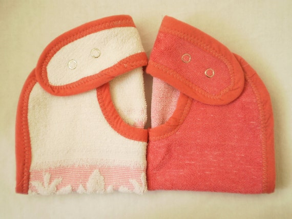 SALE--EcoFriendly Baby Bibs With Adjustable Snap Closure--Set of 2-- Pink Toned Set--Ready to Ship