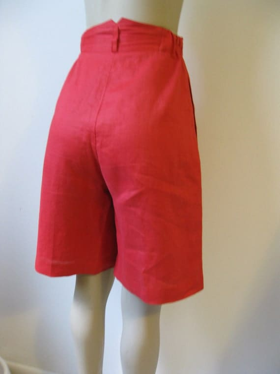Anne Gerlin Red High Waisted Linen Shorts Size 8