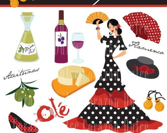 Clipart HOLA ESPAÑA 2 Digital Clip Art Set - Personal and Commercial Use -