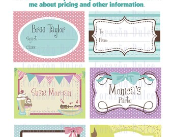 Printable Girls Cards/labels, tags, photo frame, recipe cards, gift tags, labeling, scrapbooking, etc.....