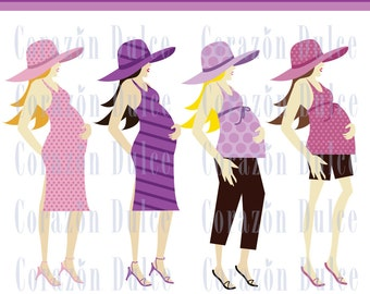 Mom to be Girl clipart-Digital Clip Art Set - Personal and Commercial Use -