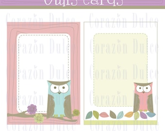 OWL CARDS - Printable templates perfect for: note cards, thank you notes, business cards, calling cards, gift tags/labels and much more