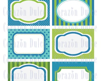 BLUE & GREEN Cards/labels, tags, recipe cards, gift tags, labeling, scrapbooking, etc.....
