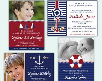 NAUTICAL BOY Invite/ Party digital printable invitation- Originals design elements