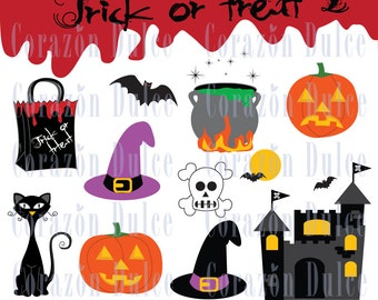 TRICK OR TREAT 1  - Halloween party- Personal and Commercial Use Clip Art-