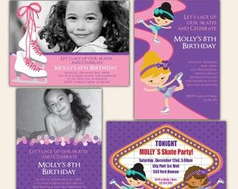 ICE SKATING Party digital printable invitation- Originals design elements