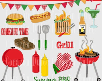 INSTANT DOWNLOAD Cookout clipart set - Personal and Commercial Use-