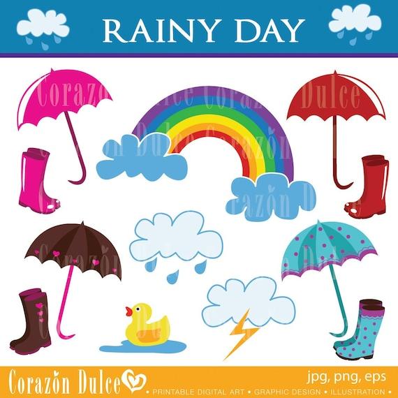Rainy Day Clip Art: Clipart RAINY DAY Digital Clip Art Set Personal And