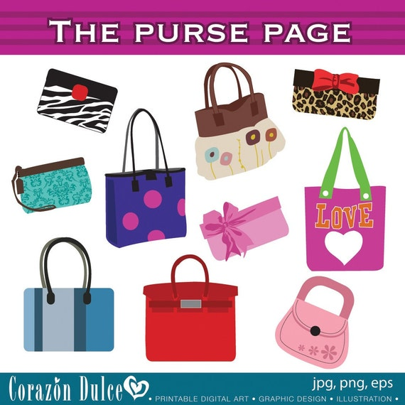 Clipart The Purse page Digital Clip Art Set - Personal and Commercial Use Clip Art. Purse, Handbags, cute handbags. Pretty purses