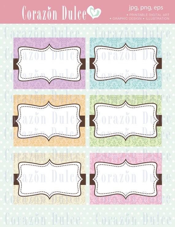 Printable Cards labels 2 tagsbusiness cardsplace cards