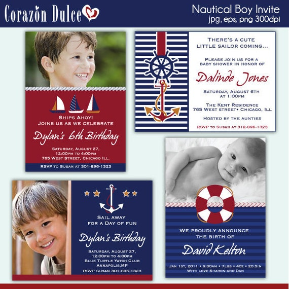NAUTICAL BOY Invite/ Party digital printable invitation- Originals design elements