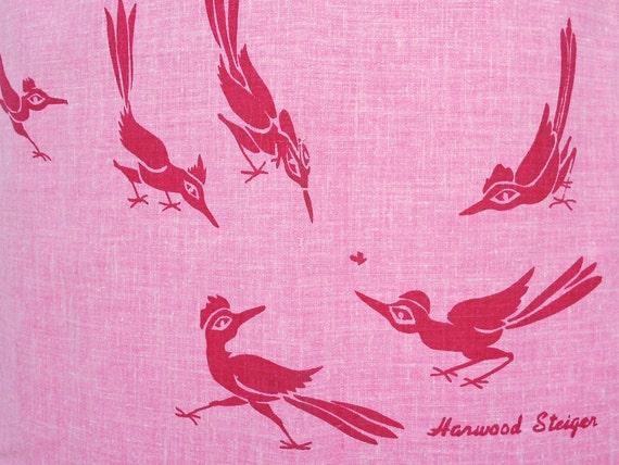 Harwood Steiger Roadrunners Silk Screened on Pink Fabric