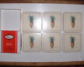 Pimpernal Acrylic Coaster Set (6)  Pineapple