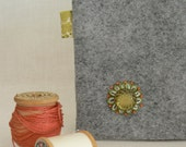 Light Gray Green White Orange Wool Felt Zippered Pouch - rosebudoriginals