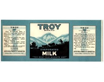 Troy Evaporated Milk Vintage Label