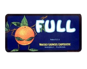 Full Brand Florida Citrus Crate Label