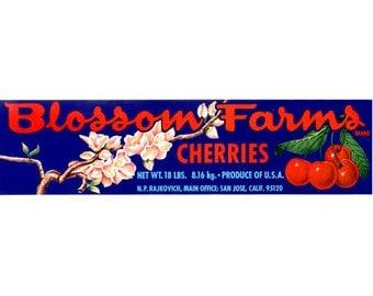 Blossom Farms Cherry Crate Label