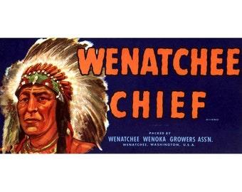 Wenatchee Chief Washington Peach Crate Label