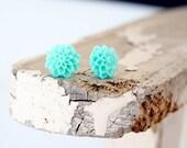 tiffany blue cabochon earrings