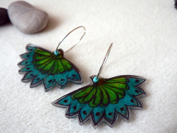 Hand painted Peacock feather  earrings