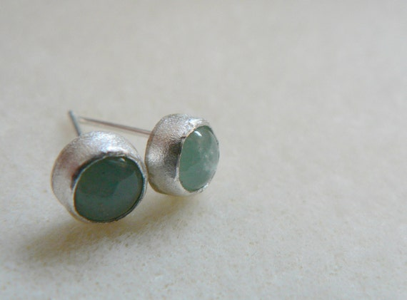 Aquamarine and  sterling silver earrings- handmade