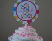 Dots and Stripes Summer Fun Personalized Cupcake Toppers - Digital File