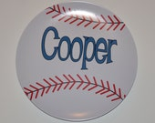 "Baseball Personalized Plate - Choose Your Colors - Personalized Birthday Plate - 10"" Melamine Plate"