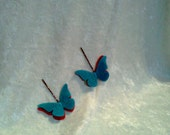 Felt Butterfly Wing Hair Clip Turquoise and Red Spring Bobby Pins