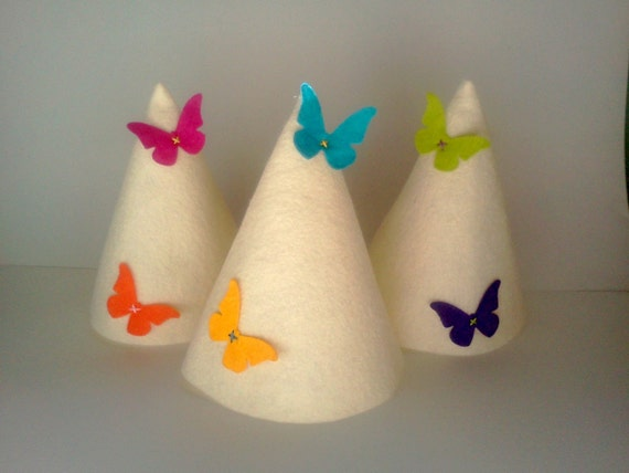 Felt Butterfly Birthday Hat Crown Garden Party Favor Girl 8 pack