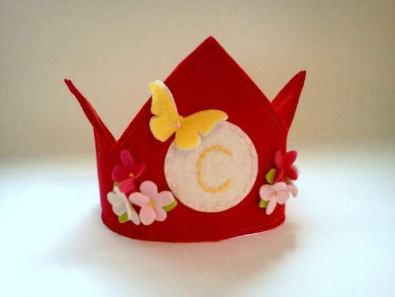 Red Felt Birthday Crown Personalized Initial Flower and Butterfly