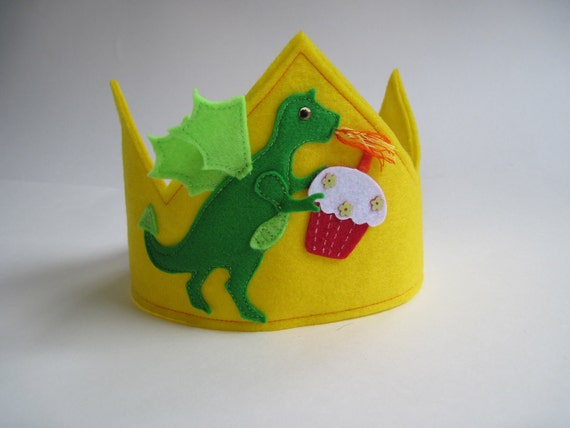 Gold and Green Dragon Kids Felt Birthday Prince Knight Crown