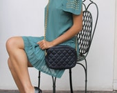 One Shoulder Studded Tunic with Pleated Aline Skirt in Mint Green. Womens Preppy Mini Dress