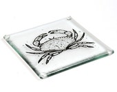 4 Hand printed and hand cut glass coasters with screen printed crab design.
