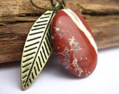 Red Striped Stone and Feather Charm Necklace
