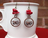 Bird Earrings, Red Coral, Lovebirds