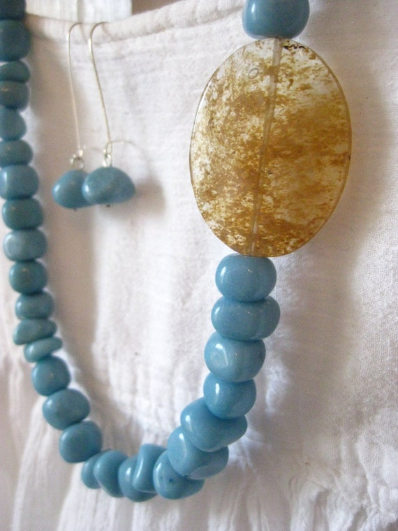 Blue Stone Necklace and Earring Set,  Sterling Silver, Gift Set, Jewelry Set, Dyed Jade,