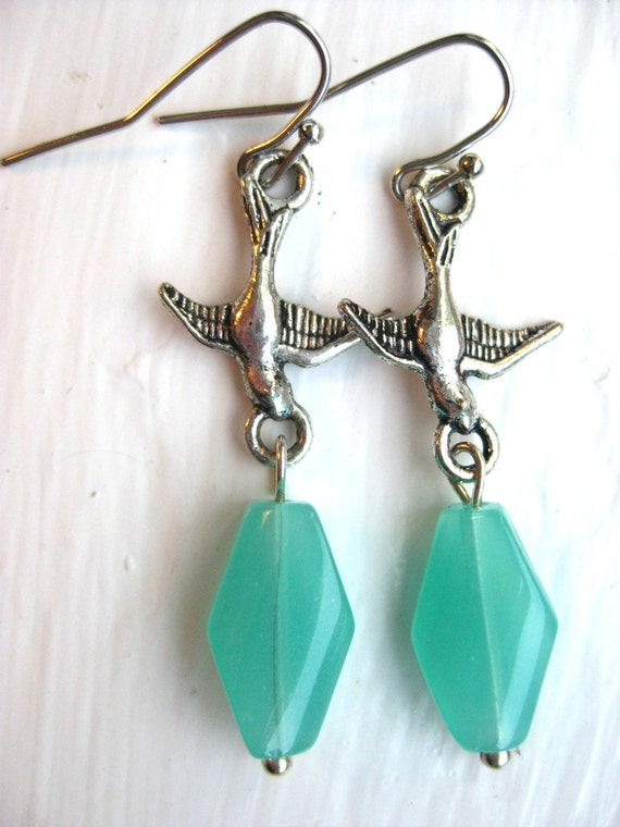 Bird Earrings, Teal Fly Away, Turquoise Earrings