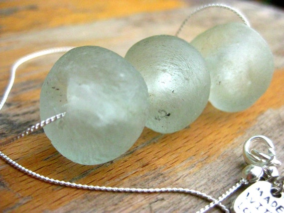 Frosted Sea Glass, Three Bead Necklace, South Africa