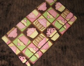 Minky  Burp Cloth  Boutique  Cutie Cupcake  in Brown, PInk and Lime