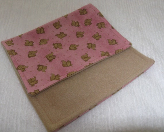 Burp Cloth Flannel Elephant  Khaki and Pink S A L E